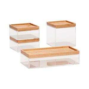 Sada 4 průhledných úložných boxů s víky z dubového dřeva Hübsch Eluf