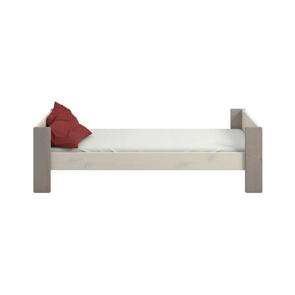 Biela detská posteľ z borovicového dreva so sivými nohami Steens For Kids, 90 × 200 cm