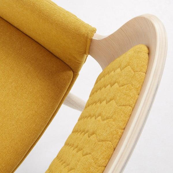 Scaun cu picioare din lemn și cotiere La Forma Andre, galben