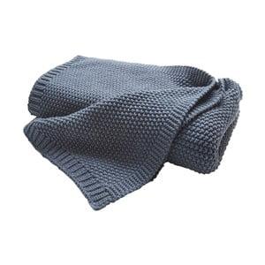 Modrý pletený pléd Biederlack, 170x130cm