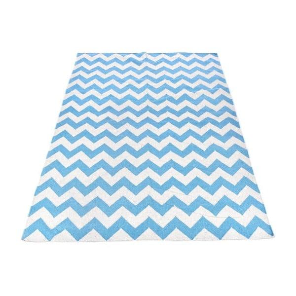 Vlněný koberec Geometry Zic Zac Blue & White, 160x230 cm