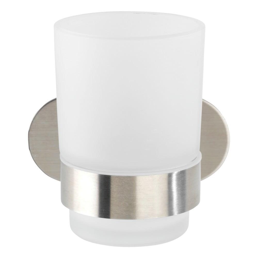 Produktové foto Bílý nástěnný kelímek na kartáčky s držákem z matné nerezové oceli Wenko Uno Bosio Turbo-Loc®
