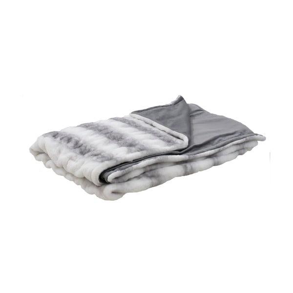 Pătură din blană artificială InArt, 180x150cm, gri deschis