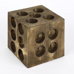 Dřevěný svícen ve tvaru hrací kostky Mum