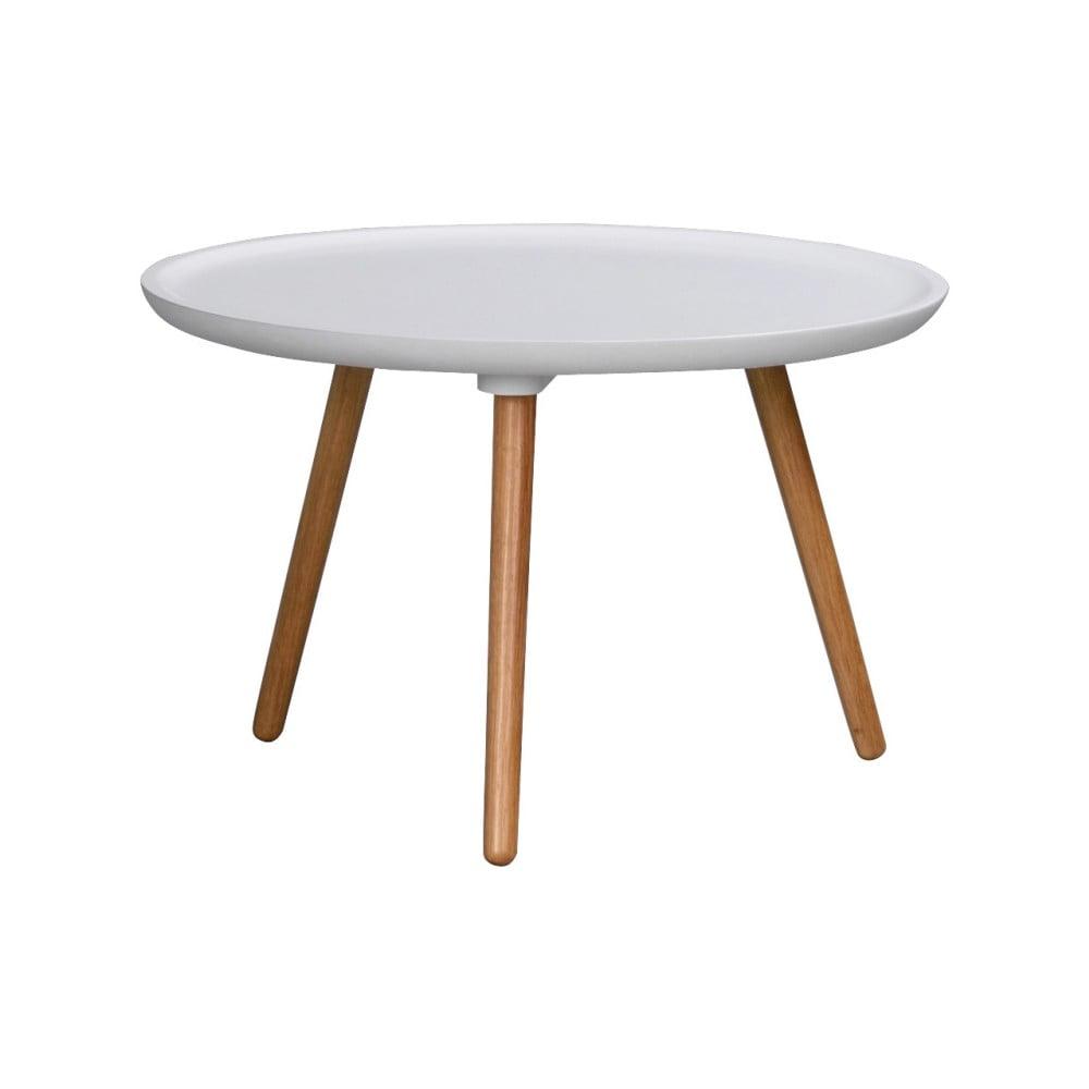 Bílý dubový konferenční stolek Folke Dellingr, ⌀ 55 cm
