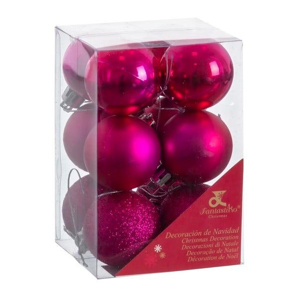 Set 12 decorațiuni de Crăciun Unimasa Navidad, violet