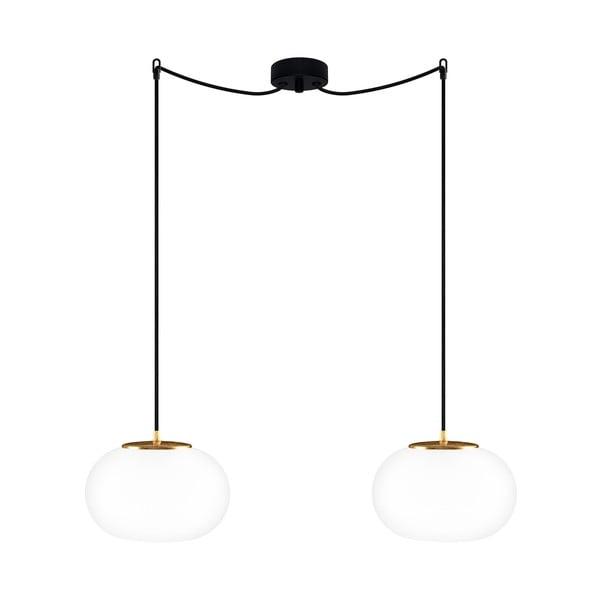 Černé dvojité stropní svítidlo s detaily ve zlaté barvě Sotto Luce DOSEI