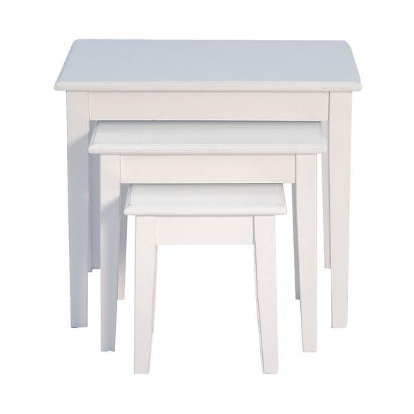 Sada 3 odkládacích stolků White Side Tables