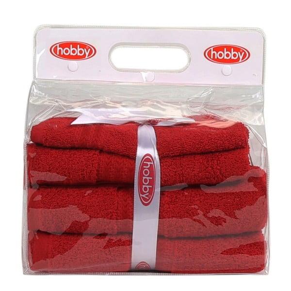 Set 3 červených ručníků a osušky Rainbow