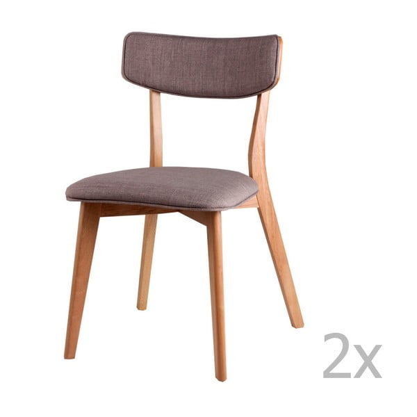 Zestaw 2 jasnoszarych krzeseł sømcasa Anais