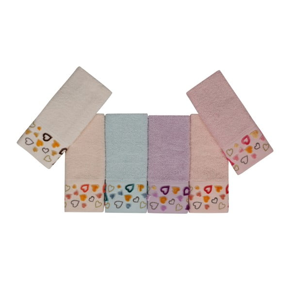 Sada 6 barevných ručníků z čisté bavlny Sri Lanka, 30 x 50 cm