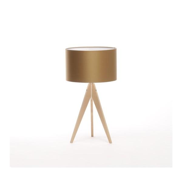 Zlatá stolní lampa Artist, bříza, Ø 33 cm