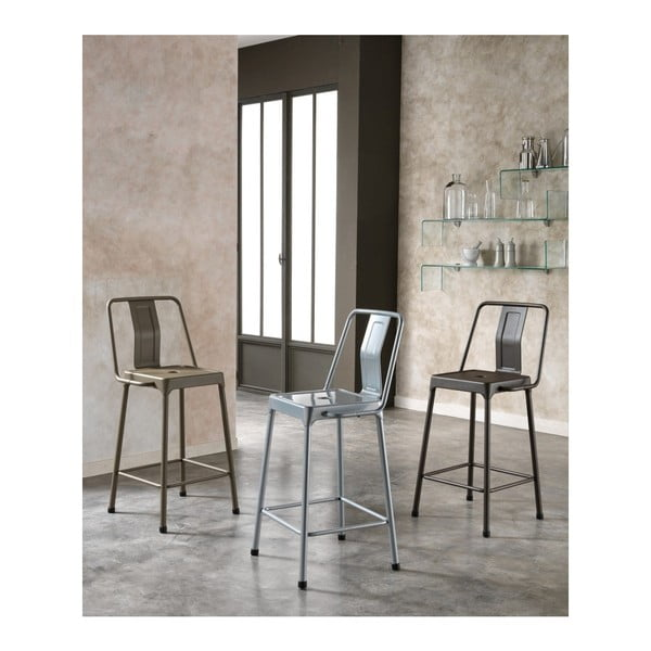 Sada 2 tmavě hnědých barových židlí Design Twist Magoye