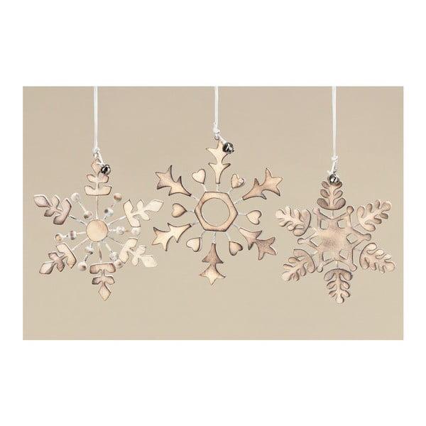 Sada 3 ks dekorativních vloček Gold Snowflake