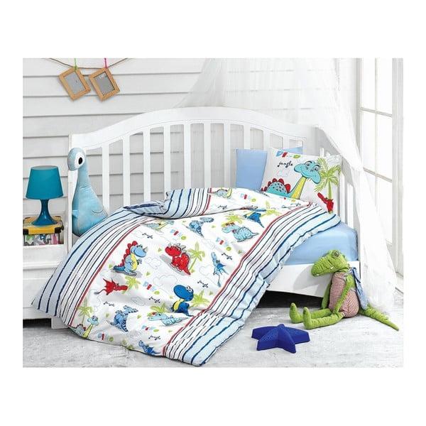 Lenjerie de pat cu cearșaf pentru copii Dino, 100 x 150 cm