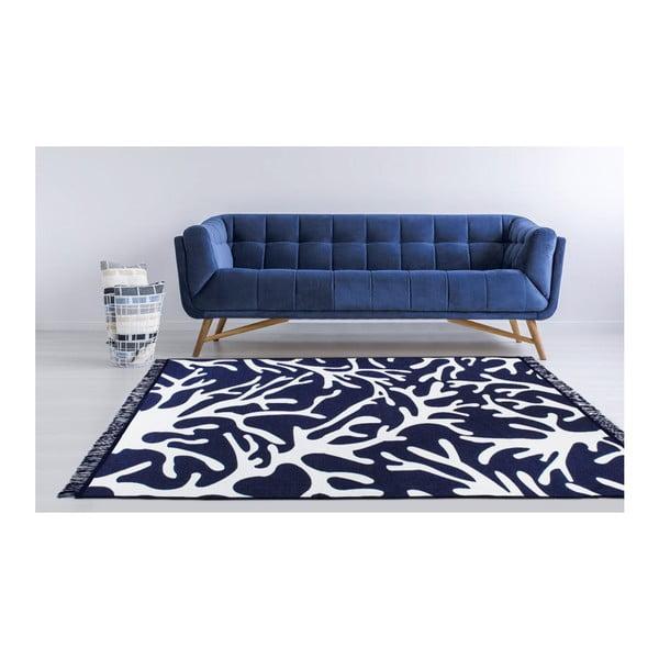 Modro-bílý oboustranný koberec Coral Reef, 120 x 180 cm