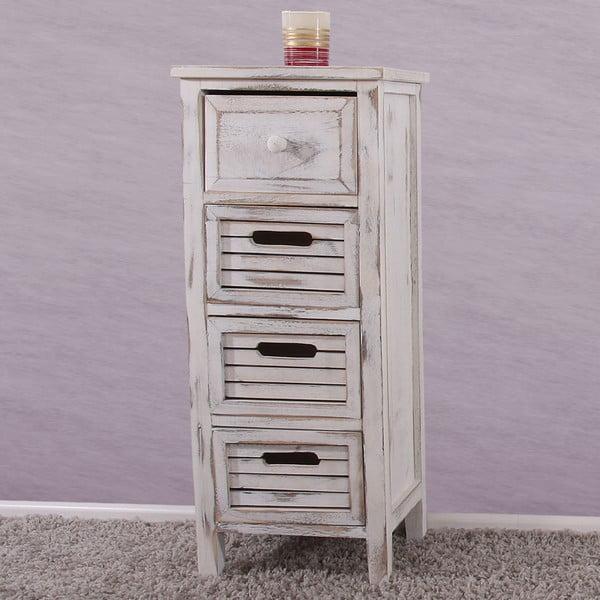 Bílá dřevěná komoda se 4 zásuvkami Mendler Shabby