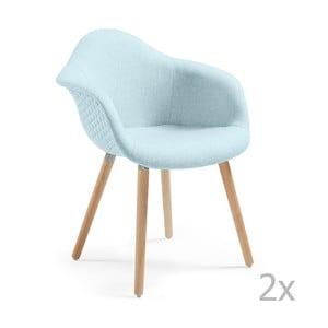 Set 2 scaune cu picioare din lemn și cotiere La Forma Kenna, albastru