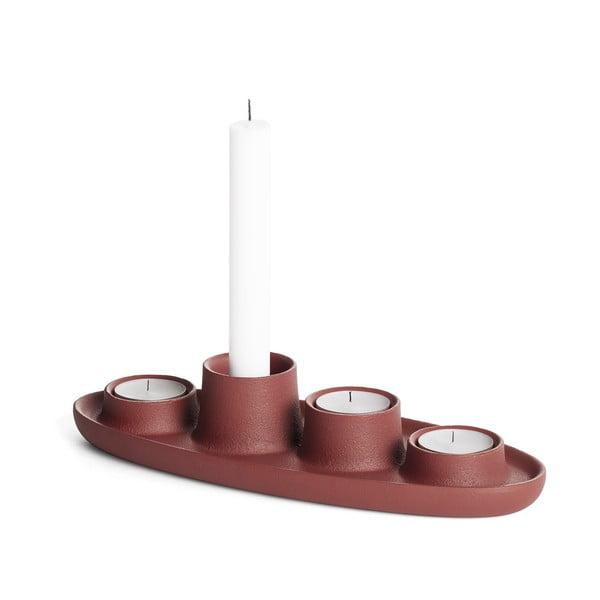 Svietnik vo vínovočervenej farbe EMKO Aye Aye Four Candles