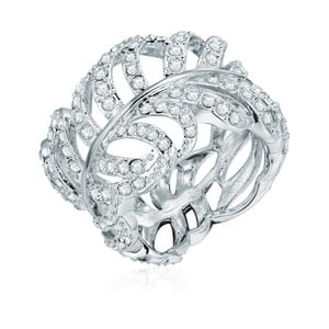 Prsten ve stříbrné barvě s krystaly Swarovski Saint Francis Crystals Pluma, vel.60