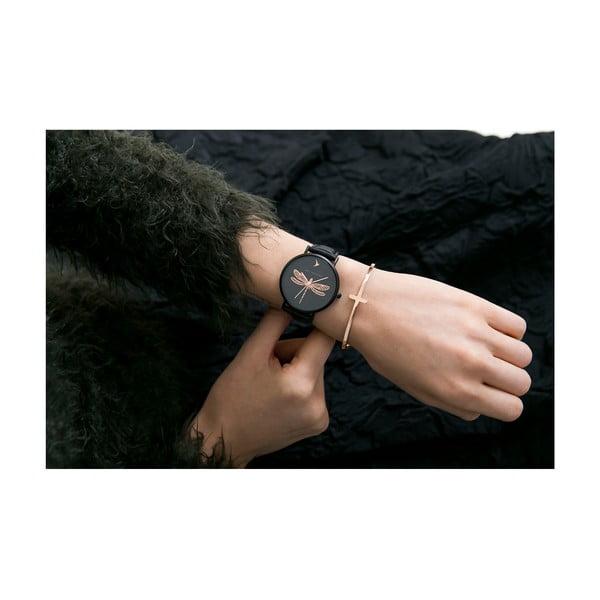 Ceas damă, curea din piele naturală Emily Westwood Fly, negru
