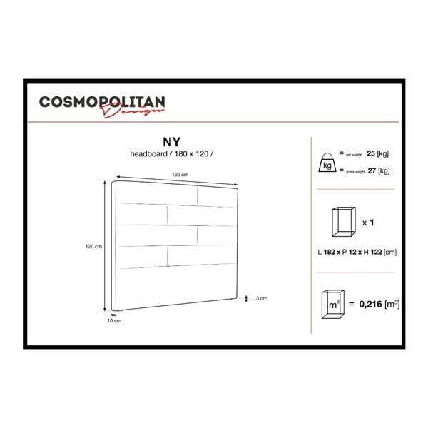 Světle šedé čelo postele Cosmopolitan Design New York, šířka 180cm