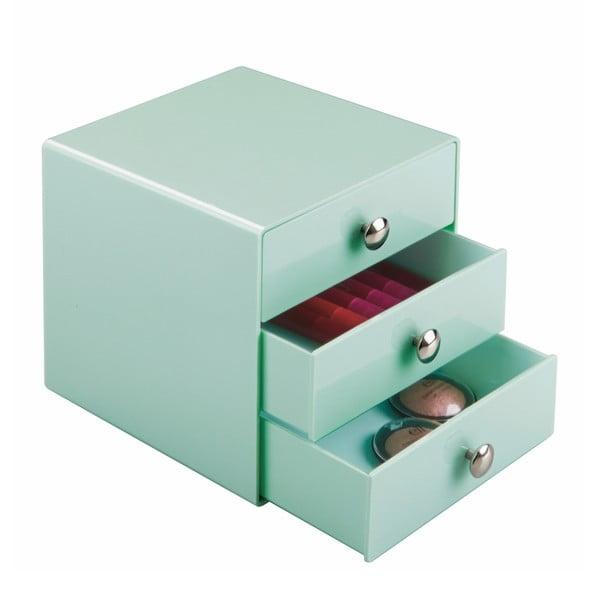 Mátově zelený úložný box s 3 šuplíky InterDesign Drawers, výška16,5 cm