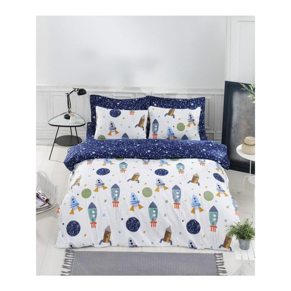 Lenjerie de pat cu cearșaf din bumbac ranforce, pentru pat dublu Mijolnir Spacex Dark Blue, 200 x 220 cm