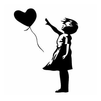 Autocolant din vinil pentru perete Balloon, 90 x 115 cm de la Pushy