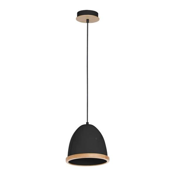 Czarna lampa wisząca z drewnianymi detalami Studio Uno Lungo