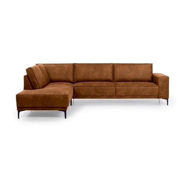 Brązowa sofa narożna Softnord Copenhagen, lewostronna