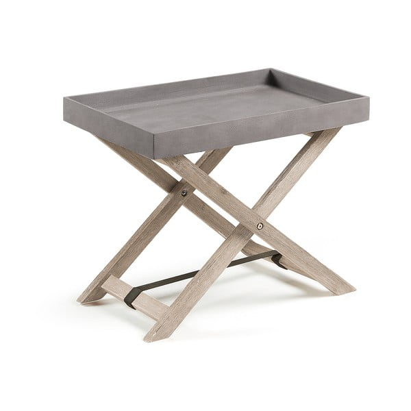 Szary stolik składany z drewna akacjowego La Forma Stahl