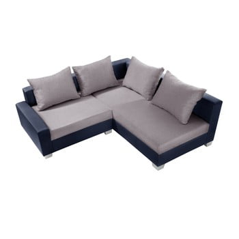 Canapea cu șezlong partea dreaptă Interieur De Famille Paris Aventure gri - albastru