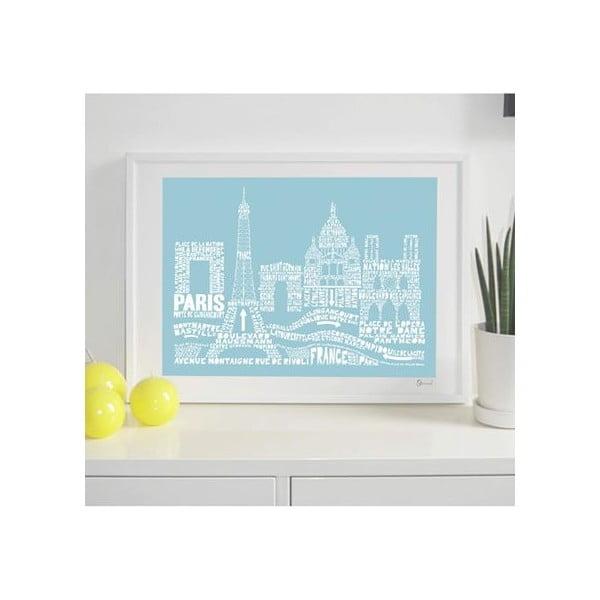 Plakát Paris Blue&White, 50x70 cm