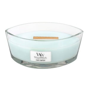 Lumânare parfumată WoodWick, aromă de haine curate, citrice și mosc, 80 ore