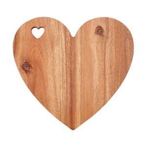 Prkénko ve tvaru srdce z akáciového dřeva s bílým okrajem Premier Housewares, 30 x 28 cm