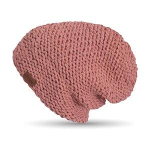 Růžová ručně pletená čepice DOKE Peach