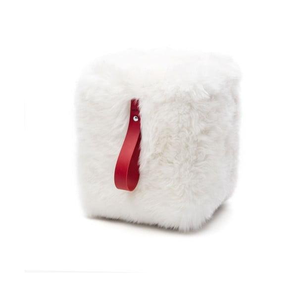 Bílo-červený hranatý puf z ovčí vlny Royal Dream