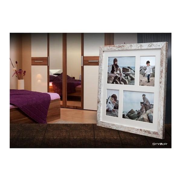 Šedo-bílý rámeček na 4 fotografie Styler Narvik Shabby, 39x39cm