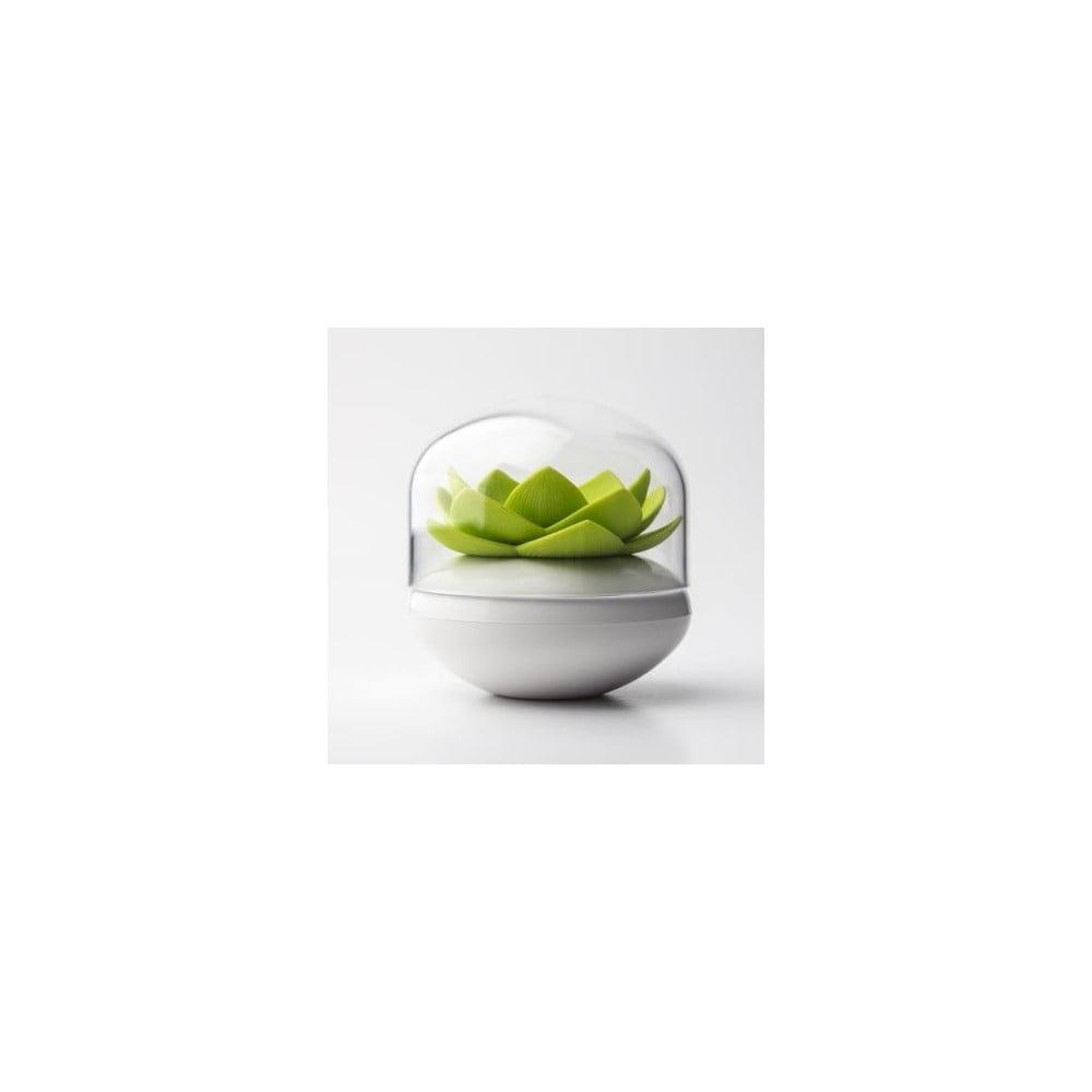 Stojánek na vatové tyčinky QUALY Lotus, bílý-zelený