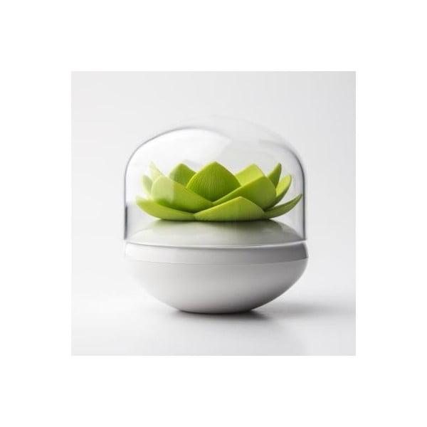 Stojan na vatové tyčinky QUALY Lotus, biely-zelený