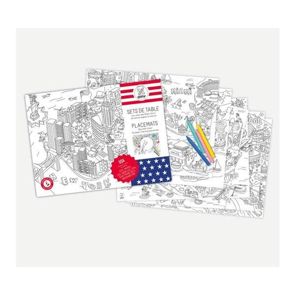 Prostírání jako omalovánka OMY United States, 24 ks