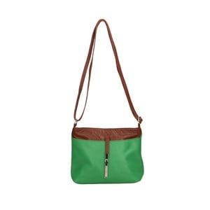 Zelená kožená kabelka s hnědými detaily Roberto Buono Meril