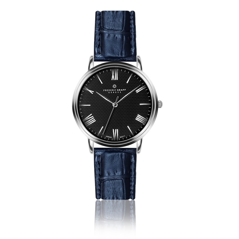 Pánské hodinky s páskem v modré barvě z pravé kůže Frederic Graff Dareo
