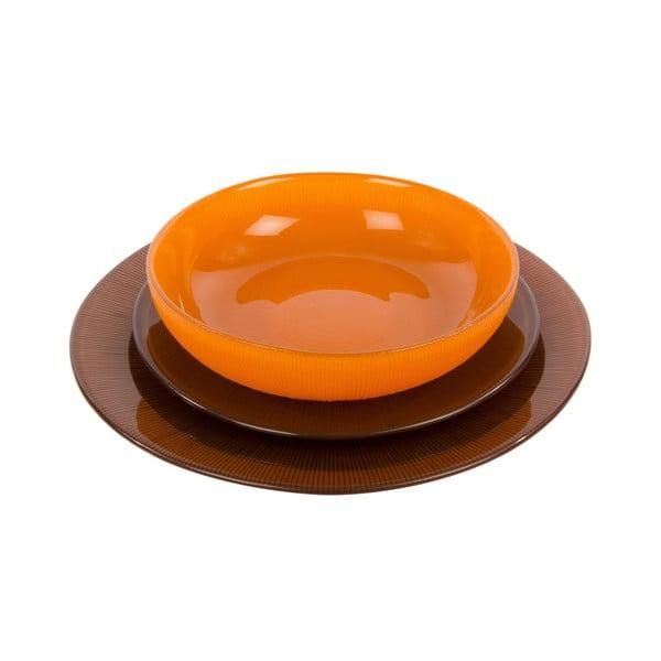 Sada 18 skleněných talířů Marrone