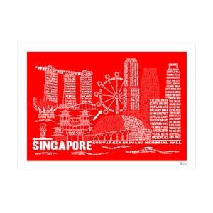 Plakát Singapore Red&White, 50x70 cm