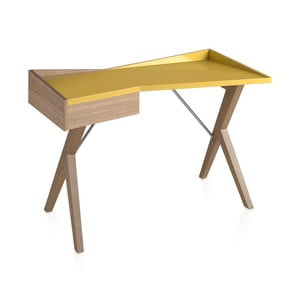 Birou din lemn de stejar Ángel Cerdá Yellow