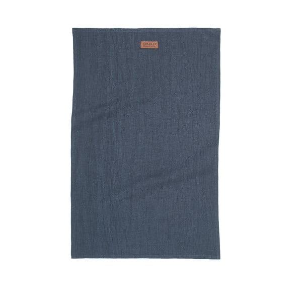 Tmavě modrá utěrka s příměsí lnu Tiseco Home Studio, 42 x 68 cm
