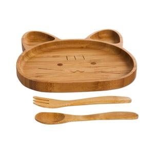 Set dětského talíře ve tvaru medvídka a příborů z bambusového dřeva Bambum