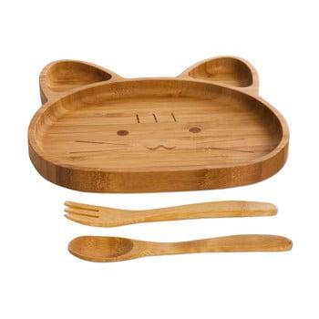 Set pentru copii cu platou și tacâmuri din lemn Bambum Cat de la Bambum